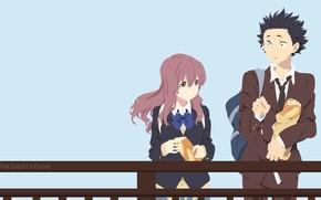 Picture girl, bridge, bread, Anime, guy, baton, 2016, You no Katachi, A Silent Voice, Form Voice