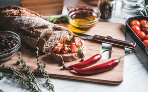 Picture bread, Board, pepper, sandwich, vegetables, tomatoes, spices