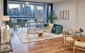 Picture interior, sofa, megapolis, living room, dining room