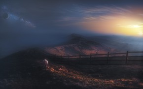 Picture the sun, sunset, mountains, the dark background, rendering, dawn, planet, sheep, photoart
