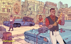 Picture girl, machine, the city, people, street, knife, guy, the coffin, cyborgs, residents, Cyberpunk 2077, Cyberpunk …