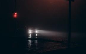 Picture road, machine, night, street, traffic light