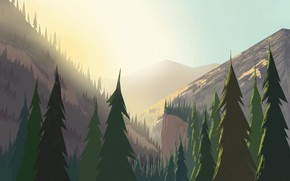 Picture Mountains, Dawn, Landscape, Art, Sunrise, Tree, Trees, Cartoon, Environment, by Andrey Syailev, Andrey Syailev
