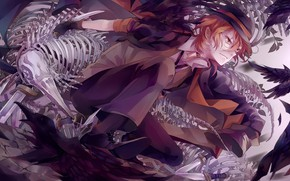 Picture anime, art, skeleton, guy, Bungou Stray Dogs
