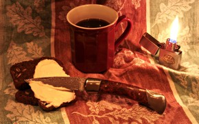 Picture glass, comfort, fire, flame, coffee, food, the evening, lighter, bread, knife, still life, Böker Magnum …
