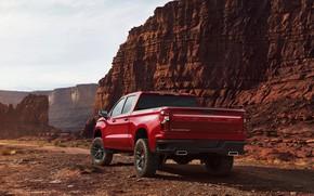 Picture red, rocks, Chevrolet, pickup, Silverado, Z71, Trail Boss, 2019, Silverado LT