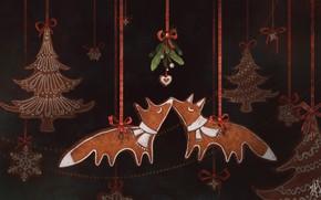 Picture chanterelles, toys, mistletoe, tree, by Jane Bekarevich