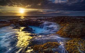 Picture sunset, the ocean, coast, Hawaii, Pacific Ocean, Hawaii, The Pacific ocean, Побережье Кона, Kona Coast