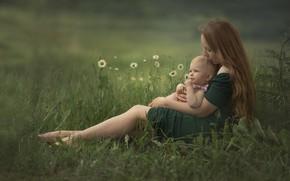 Picture summer, grass, flowers, nature, woman, chamomile, baby, mom, child, mother, motherhood, Chudak Irena