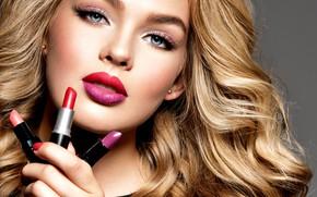Picture look, face, model, portrait, makeup, hairstyle, blonde, curls, curls, model, makeup, lipstick