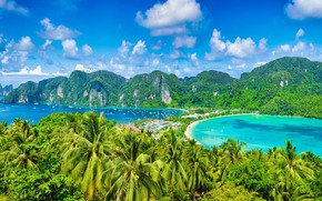 Picture sea, palm trees, yachts, Thailand, Phi