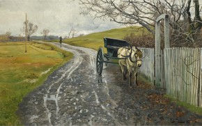 Picture Waiting, 1888, Frits Thaulov, Frits Thaulow, Norwegian landscape painter, oil on canvas, Norwegian Impressionist painter, …