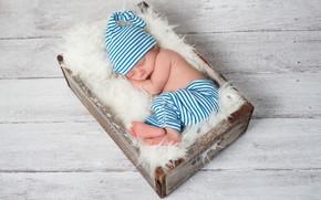 Picture sleep, boy, sleeping, fur, wood, cap, baby, pants