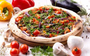 Picture greens, mushrooms, bow, eggplant, pepper, pizza, tomatoes