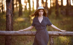 Picture look, trees, background, model, portrait, hat, makeup, figure, dress, hairstyle, brown hair, beauty, is, nature, …