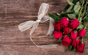 Picture flowers, roses, bouquet, tape, red, red, bow, buds, wood, flowers, romantic, roses, bud