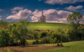 Picture France, hill, Church, Doubs