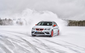 Picture winter, white, snow, skid, universal, Seat, 2017, Leon Cupra ST