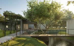 Picture pond, garden, yard, the bridge, structure