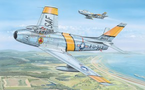Picture art, airplane, aviation, jet, f-86 sabre