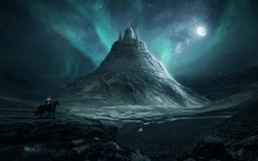 Picture Night, Stars, The moon, Mountain, The building, Moon, Landscape, Architecture, Art, Stars, Art, Landscape, Mountain, …