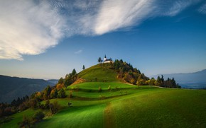 Picture clouds, trees, landscape, mountains, nature, hill, Church, Slovenia, Valentin Valkov