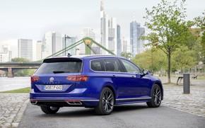 Picture blue, the city, Volkswagen, universal, Passat, R-Line, Variant, 2019