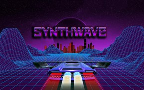 Picture Music, Background, City, Car, Stars, Neon, Illustration, Synth, Retrowave, Synthwave, New Retro Wave, Futuresynth, Sintav, …