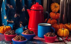 Picture kettle, mug, pumpkin, still life, box, cupcakes, coffee pot