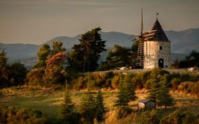 Picture autumn, landscape, sunset, mountains, nature, mill