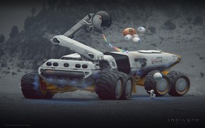 Picture transport, flags, Robinson the journey, moontruck, Rover concept design