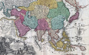 Picture old maps, geography, 18th century map of Asia, Johann Christoph Homann, Map of Asia 18th …