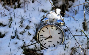 Picture snow, time, watch, alarm clock