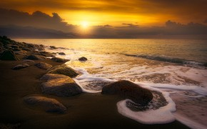 Picture sand, sea, wave, beach, the sky, foam, the sun, clouds, rays, landscape, sunset, yellow, clouds, ...