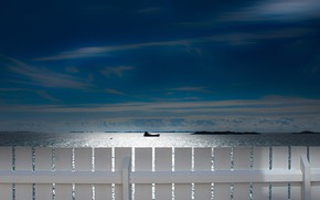 Picture sea, the sky, the fence, ship, Norway, North sea