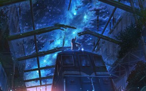 Picture the sky, girl, night, train, abandoned station