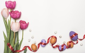 Picture holiday, Easter, tulips, Easter, composition, eggs, spring.bouquet