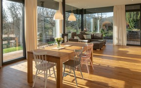 Picture interior, living room, dining room, panoramic Windows