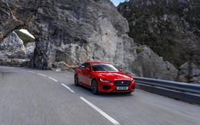 Picture red, rock, Jaguar, the fence, arch, mountain road, 2020, Jaguar XE