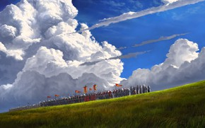 Picture sky, field, clouds, army, horses, digital art, artwork, fantasy art, Knights, banners