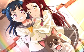 Picture background, girls, dog, art, Love Live School Idol Project, Living love