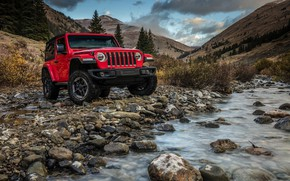 Wallpaper water, mountains, red, stones, 2018, Jeep, Wrangler Rubicon