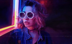 Picture Girl, Music, Glasses, Style, Face, Background, 80s, Style, Neon, Illustration, 80's, Synth, Retrowave, Synthwave, New …