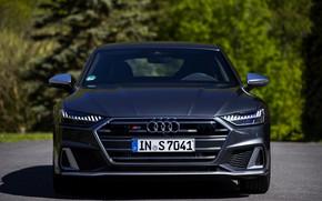 Picture Audi, front view, Audi A7, 2019, dark gray, S7 Sportback