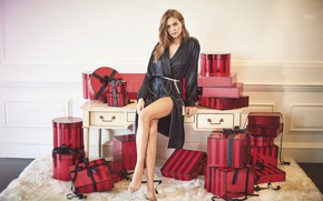 Picture look, girl, pose, table, room, model, gifts, legs, on the floor, Bathrobe, box, Josephine Skriver