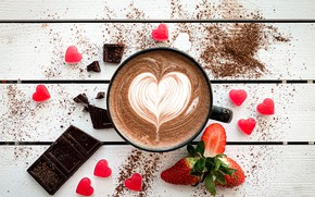 Picture coffee, chocolate, strawberry, Cup, cappuccino, chocolate, strawberry, coffee