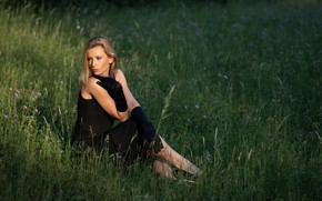 Picture grass, look, girl, pose, dress, beautiful, Martin Ecker, Therese