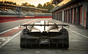Picture supercar, Pagani, rear view, racing track, To huayr, Imola, 2020