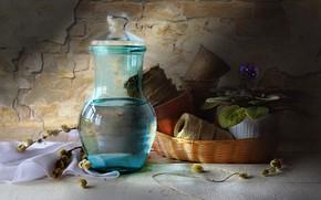 Picture flower, basket, pitcher, still life, pots, Verba, violet