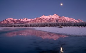 Picture winter, forest, mountains, reflection, river, the moon